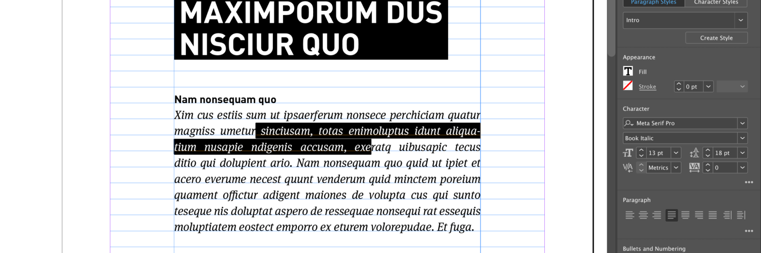 alineastijlen of paragraph styles in Adobe InDesign